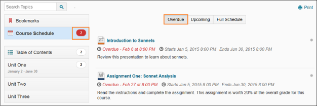 The Overdue tab lists overdue assignments in the Course Schedule area of Content